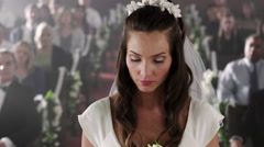 Bride remaining calm despite her absent groom. Stock Footage