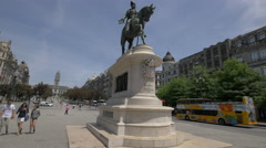 The equestrian statue of Dom Pedro IV in Porto Stock Footage