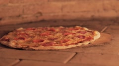 Pizza in owen almost ready Stock Footage