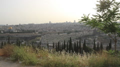 Stunning View of the Old City of the Mount of Olives Jerusalem, Israel Stock Footage