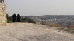 Muslim Women Walking on the Mount of Olives Jerusalem, Israel Stock Footage