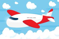 Red airliner cartoon design Stock Illustration