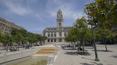 Relaxing in front of the City Hall, Porto Stock Footage