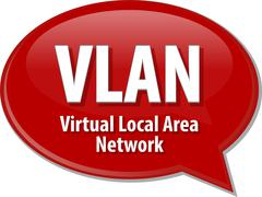 VLAN acronym definition speech bubble illustration - stock illustration
