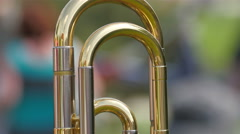 A trombone standing on the table Stock Footage