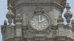 The clock of Clerigos Bell Tower in Porto Stock Footage