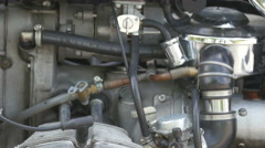 Closer look of the engine of the motor bike Stock Footage