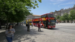 Tourists waiting to get on the sightseeing tour bus in Porto Stock Footage
