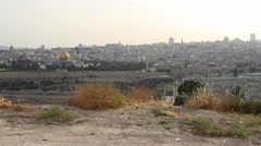View of the Old City from the Mount of Olives Jerusalem, Israel Stock Footage