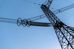 High-voltage power line Stock Photos