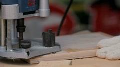 Hand milling machine handles wood veneer Stock Footage