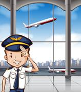 Stock Illustration of Airline captain at airport