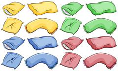 Pillows and cushion of assorted colours - stock illustration