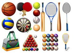 Sports equipment and balls - stock illustration