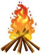 Campfire on white background Stock Illustration