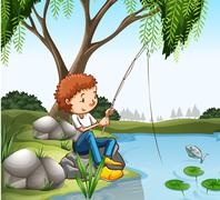 Young boy fishing in pond Stock Illustration