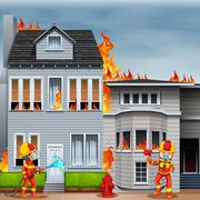Firemen at the scene of house fire - stock illustration