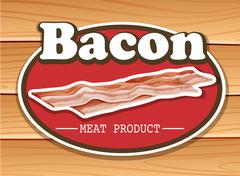 Bacon advertisement with text - stock illustration