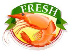 Fresh shrimp with text - stock illustration