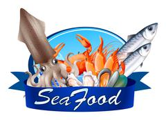 Seafood label with assorted seafood - stock illustration