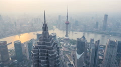 wide angle of shanghai city aerial view - stock footage