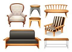 Assorted chairs on white - stock illustration