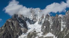 Charpua Glacial basin Aguilles du Drus, Aguille verte fog rising Stock Footage