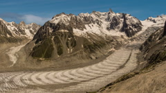 Glaciers and Valle Blance going up to Mont Blanc time lapse Stock Footage