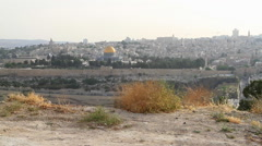 Young Man Towards the Dome of the Rock on the Mount of Olives Jerusalem, Israel Stock Footage