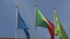 Flags in the wind in Porto Stock Footage