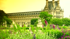 ULTRA HD 4K real time shot,Tuileries garden, one of most famous parks of Paris Stock Footage