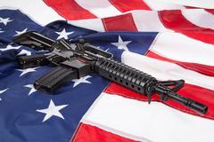 Stars, Stripes And Submachine Gun - stock photo