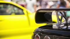 Original Spoiler Of Sport Car Stock Footage