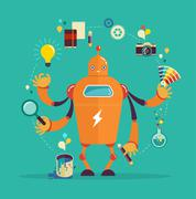 Stock Illustration of Robot graphic designer - creative thinking