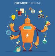 Robot graphic designer - creative thinking Stock Illustration