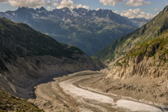 Mer de Glace Glacier and Montenvers mountain train station time lapse 6K Stock Footage