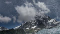 Aguille du Midi peak and glacier clouds time lapse 4K Stock Footage