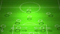 4K European Football Tactics 4-2-4 Standard Lineup Formation handdrawn Stock Footage