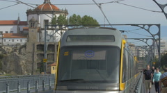 Metro train traveling through the metro station in Porto Stock Footage