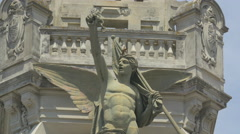 Angel on a building in Porto Stock Footage