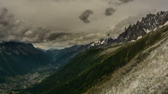 Aguilles du Chamonix valley and Pellerins Glacier time lapse Stock Footage