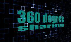 Pixelated words 360 degree sharing on digital background - stock photo