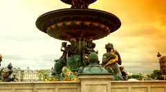ULTRA HD 4K real time shot,Golden fountain in the Place du Concorde Stock Footage