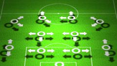 4K European Football Tactics 4-2-4 Standard Lineup Formation Stock Footage