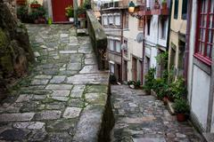 Medieval Alley in Ribeira Old Town of Porto - stock photo