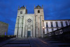 Porto Cathedral by Night in Portugal Stock Photos