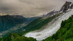 Chamonix valley and village Pelerins glacier time lapse 4K Stock Footage