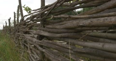 Lath Fence of Twigs, Fortress Hill, Fortress Walls, Woden Walls, Road Paved - stock footage