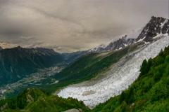 Chamonix valley and village Pelerins glacier time lapse Mont Blanc Massif  6K Stock Footage