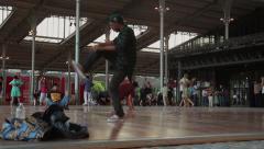 Break Dancer and Valsa Dance, Paris Stock Footage